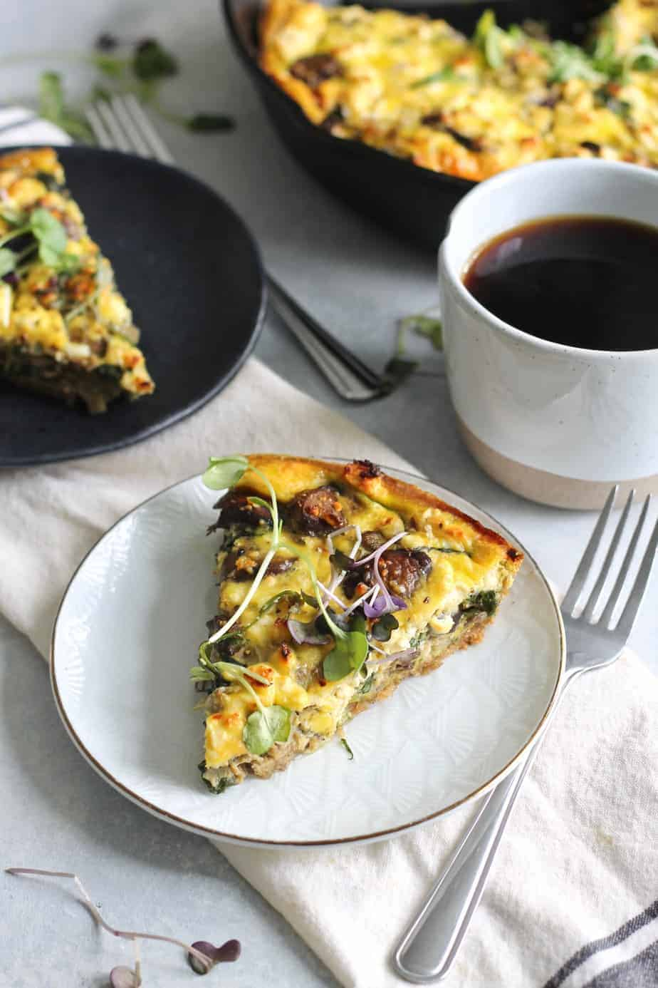 Spinach, Mushroom and Artichoke Quiche with Spelt Crust