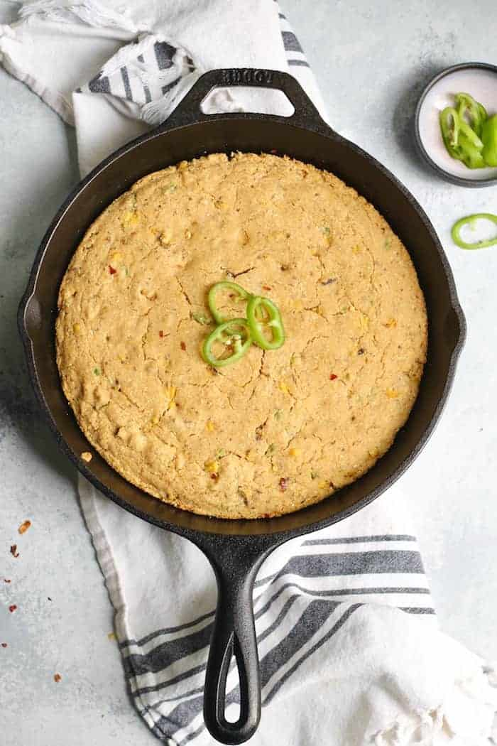 Incredibly easy, moist, and fluffy Vegan Skillet Jalapeño Cornbread! So delicious that you
