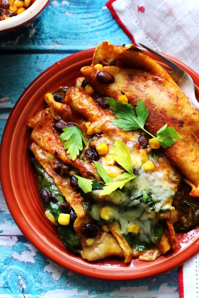 Vegetable Enchiladas with Black Beans, Corn, and Spinach from Eats Well With Others