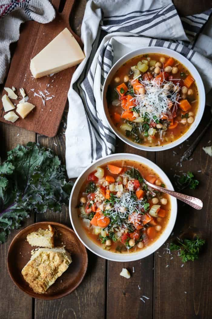 Rustic Minetrone Soup with Rice and Kale from The Roasted Root