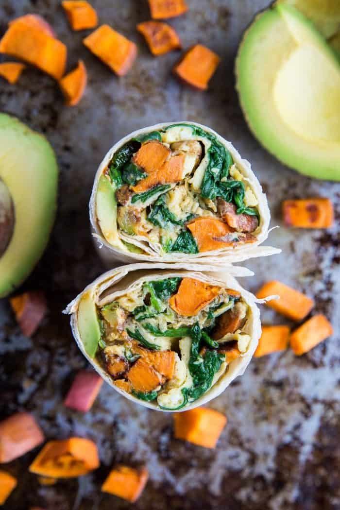 Roasted Veggie and Avocado Breakfast Burritos from The Roasted Root