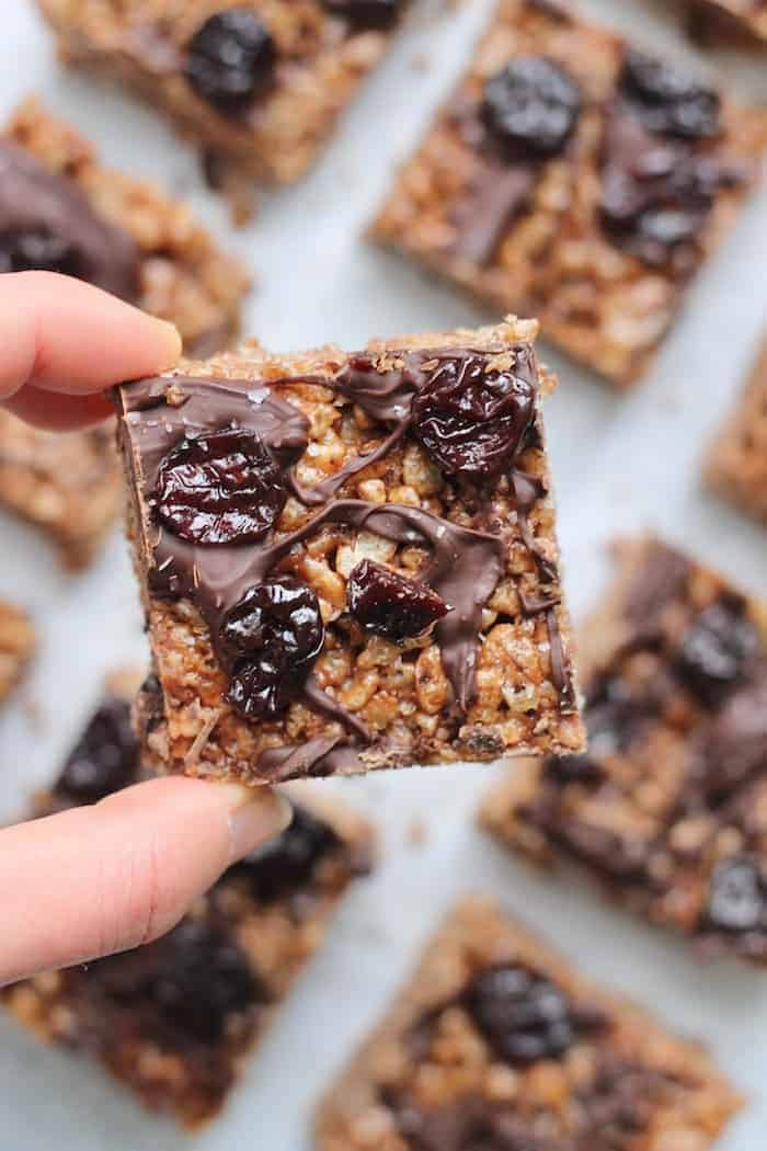 Chocolate Covered Tart Cherry Rice Crispy Treats