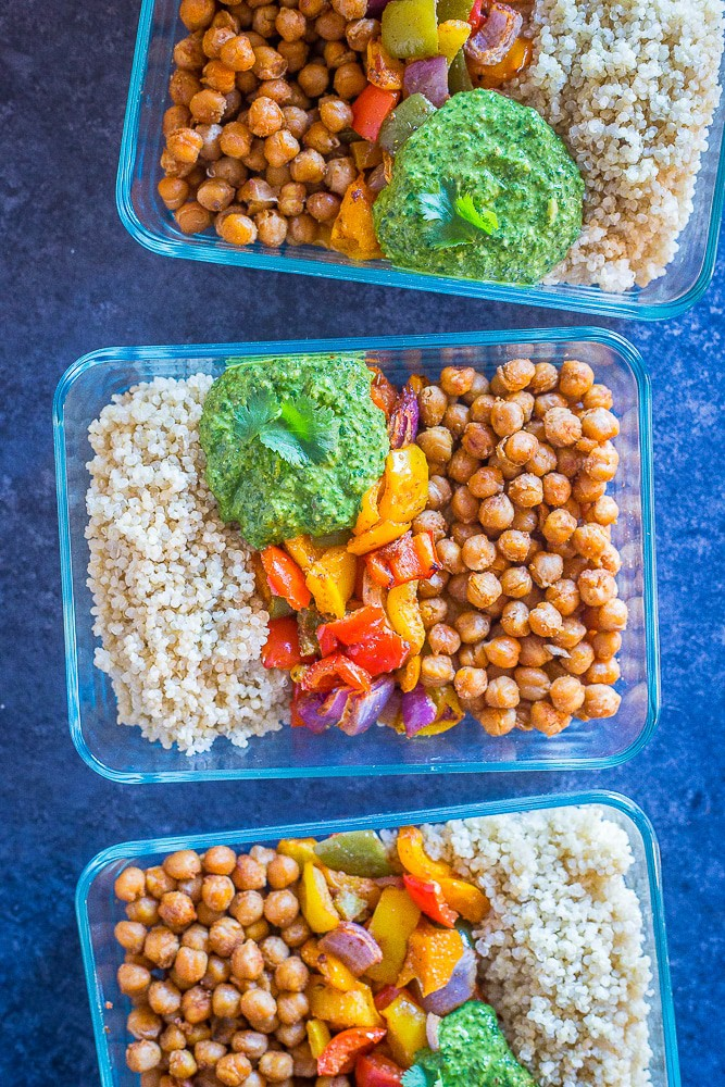 Chickpea Fajita Bowls with Cilantro Lime Pesto from She Likes Food