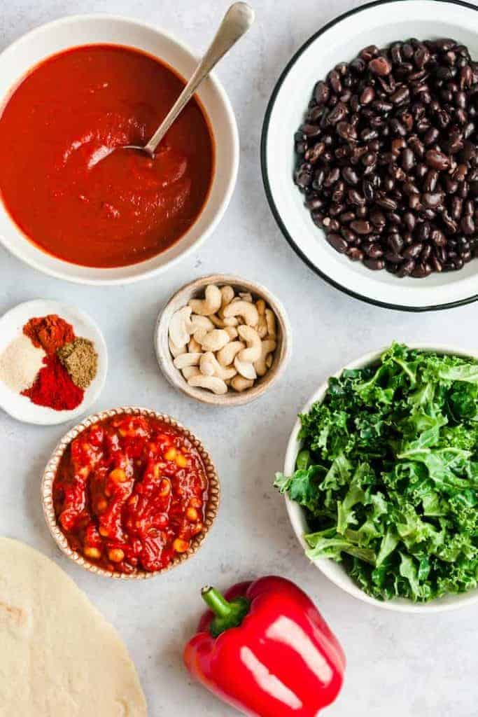 Ingredients-Vegan-Echiladas-Black-Beans-Kale