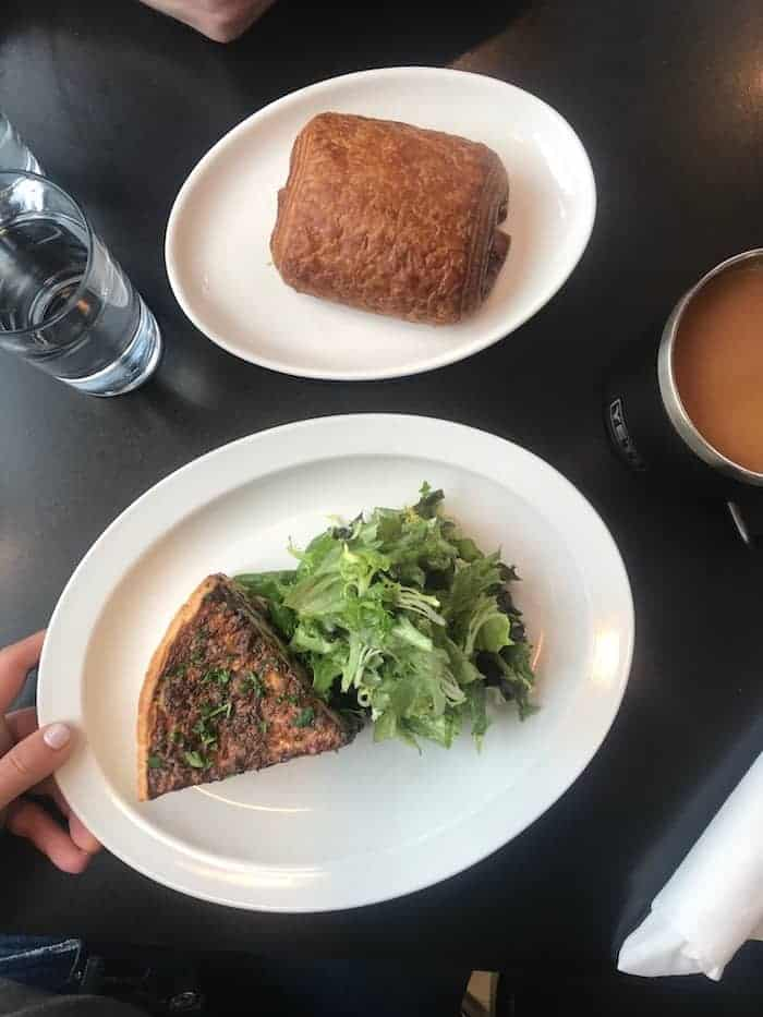 Croissant and Quiche on Black Table