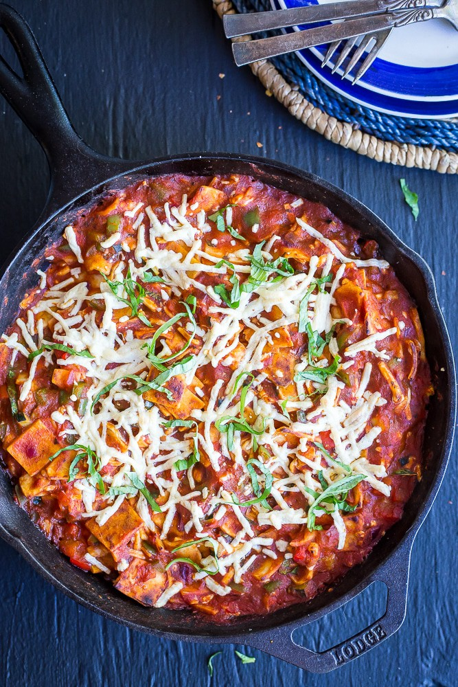 30-Minute Pizza Skillet Casserole from She Likes Food