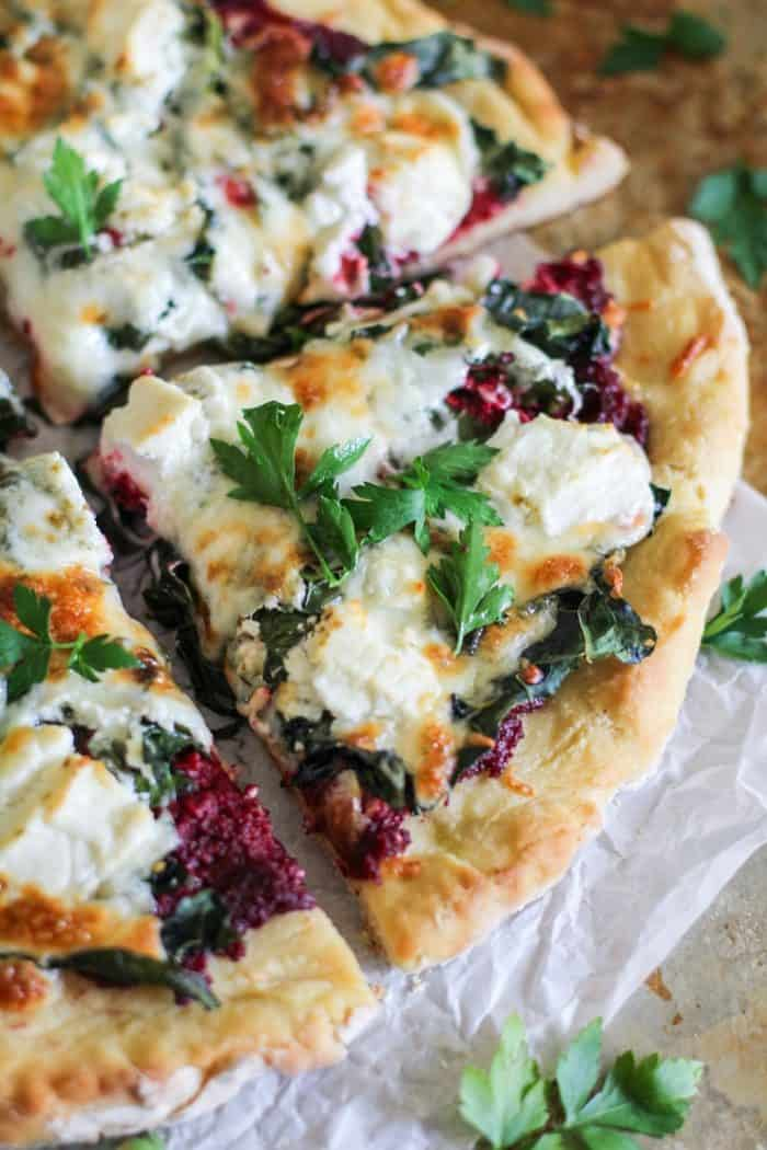 Beet Pesto Pizza with Kale and Goat Cheese from The Roasted Root