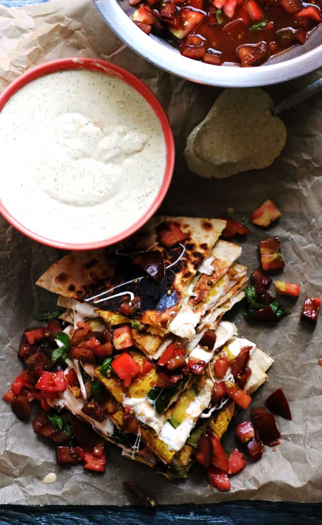Cheesy Zucchini Quesadillas with Heirloom Tomato Salsa from Eats Well With Others