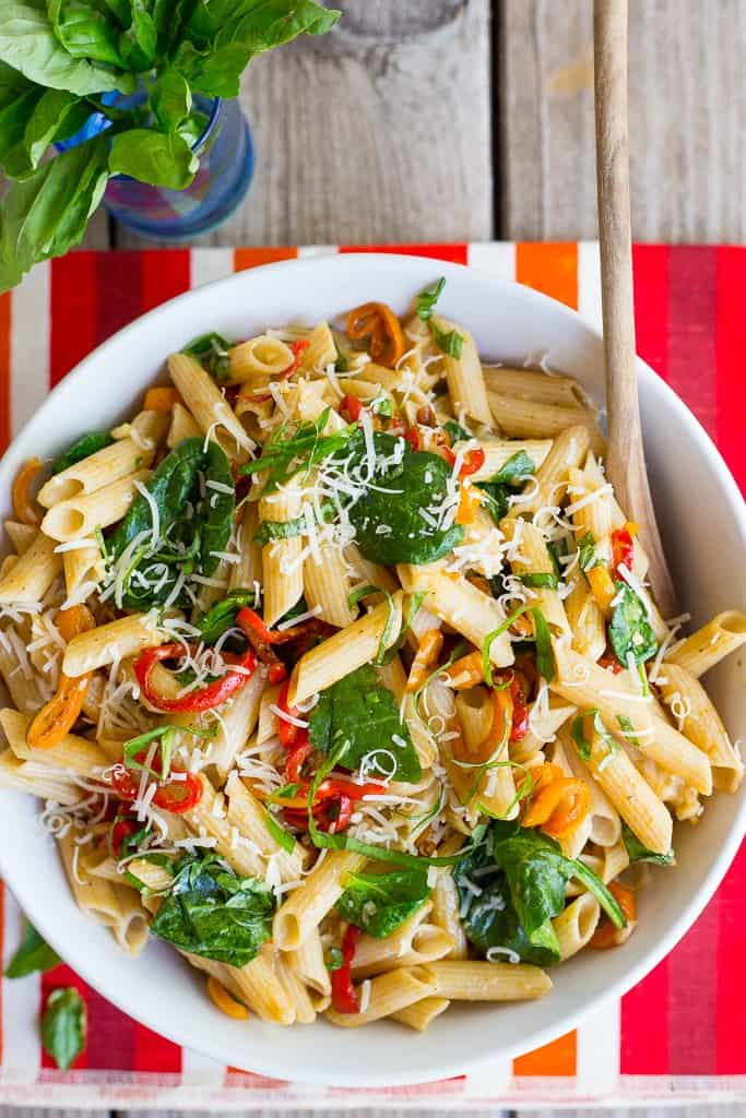 Balsamic Sweet Pepper Pasta with Spinach and Parmesan | She Likes Food