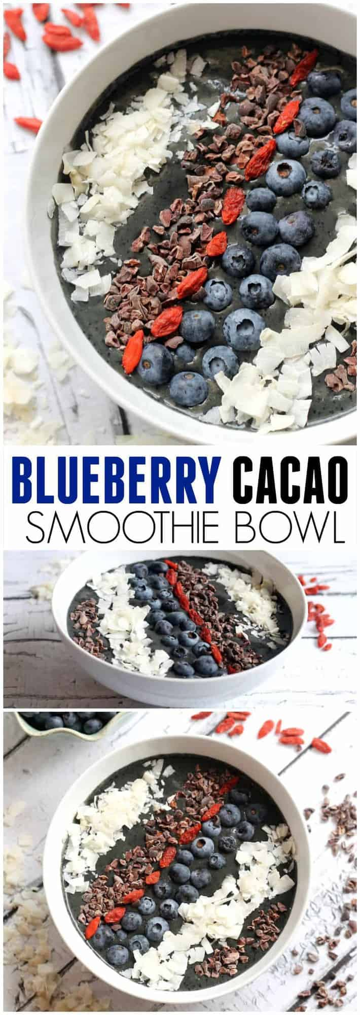 Blueberry Cacao Smoothie Bowl -- Packed with superfoods, this high-protein, high-fiber breakfast is easy, refreshing, and kid-friendly! Vegan, paleo, and gluten-free. Hummusapien.com