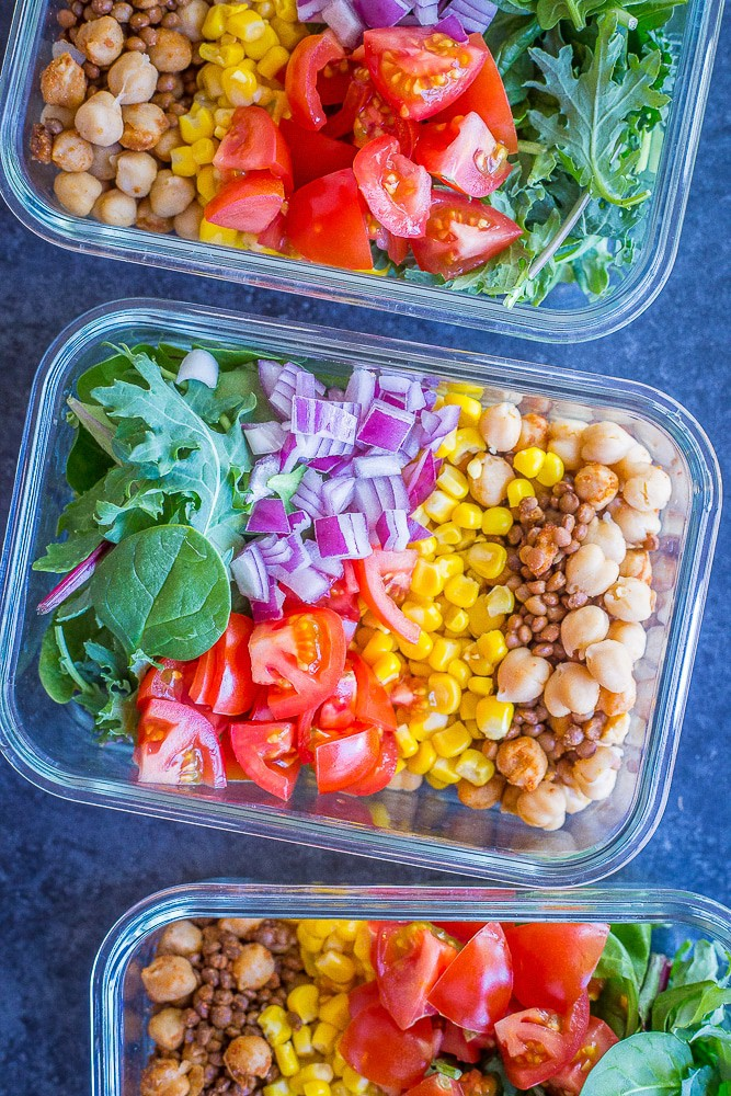 Chickpea and Lentil Taco Salads from She Likes Food