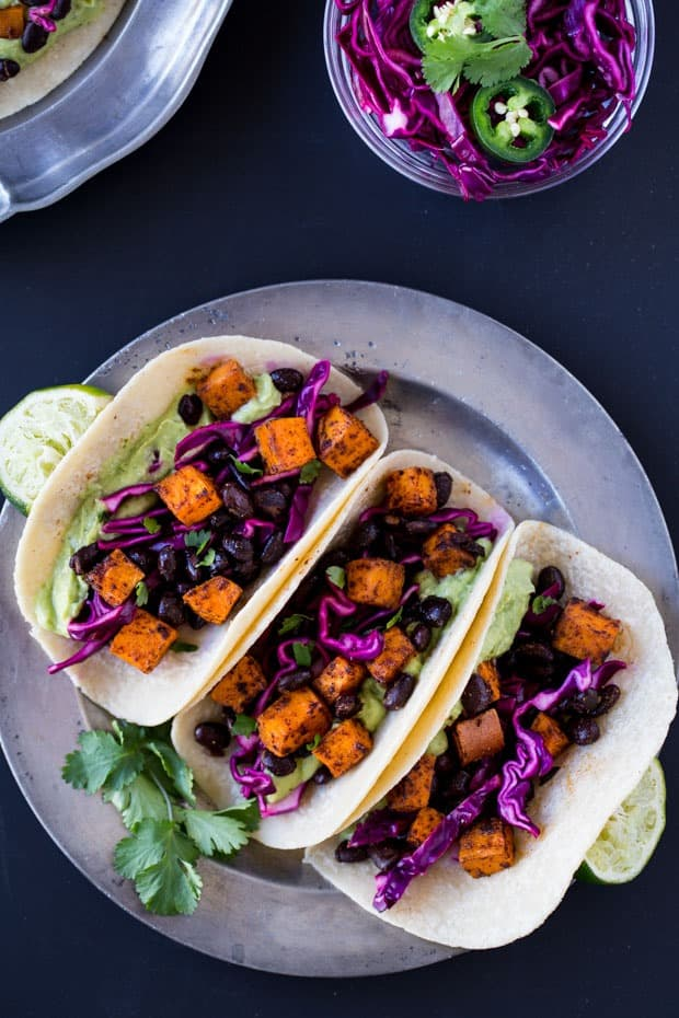 Chipotle Sweet Potato Tacos with Avocado Cream from Making Thyme for Health