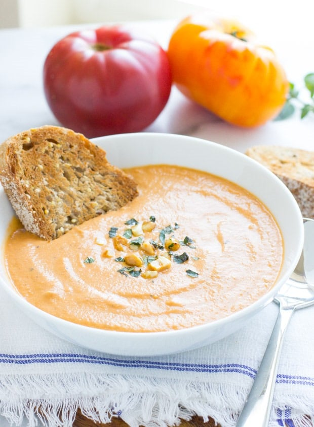 Creamy Eggplant Tomato Soup from Making Thyme for Health