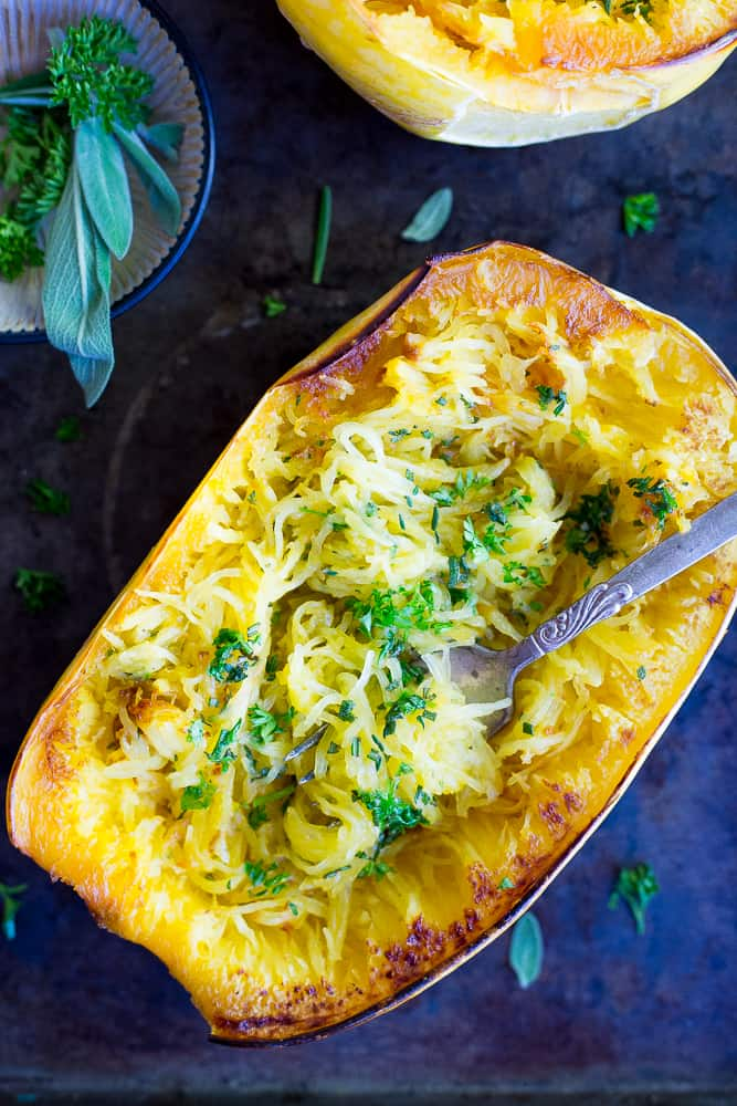 Garlic and Herb Spaghetti Squash Boats from She Likes Food