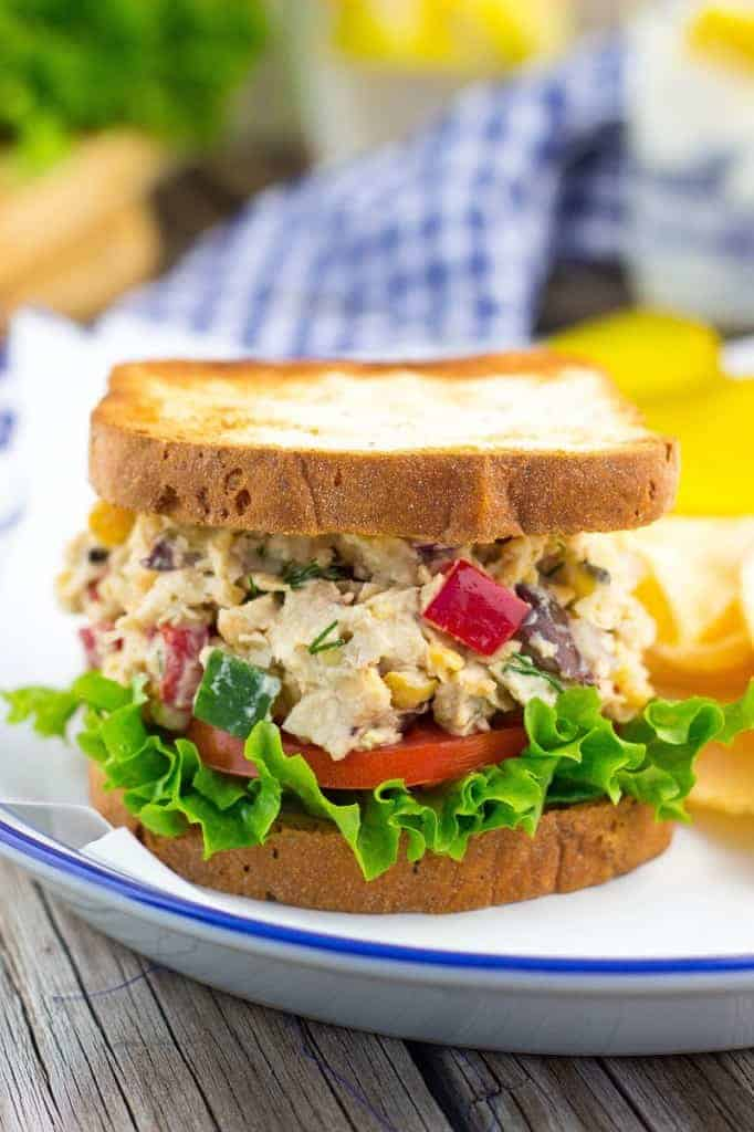 Greek Chickpea Salad Sandwiches from She Likes Food