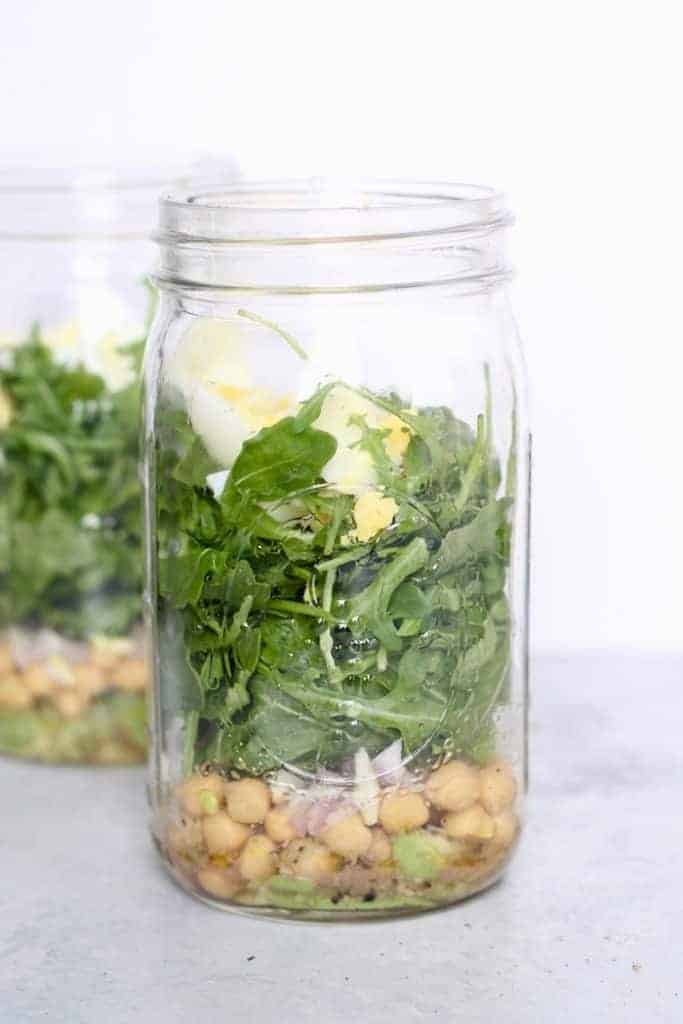 This refreshing, healthy Mediterranean Salad in a Jar is the perfect protein-packed lunch on the go!