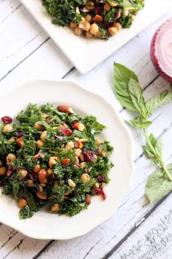 Basil Balsamic Chickpea and Kale Salad from Hummusapien