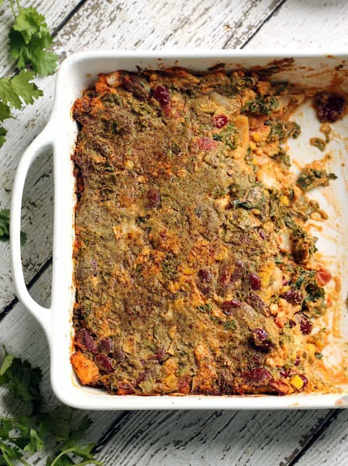 Vegan Tempeh and Kale Enchilada Casserole...an easy weeknight meal!