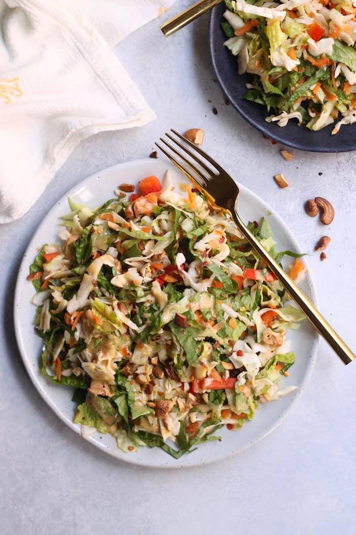 Crunchy Thai Salad with Creamy Peanut Dressing from Hummusapien
