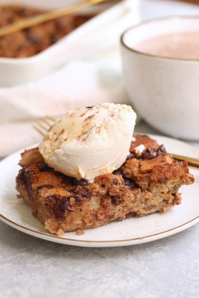 A super easy (8 ingredients!), tasty, and moist Chocolate Banana Bread Pudding made with ripe bananas, whole grain bread, and chocolate chips that the whole family will love!