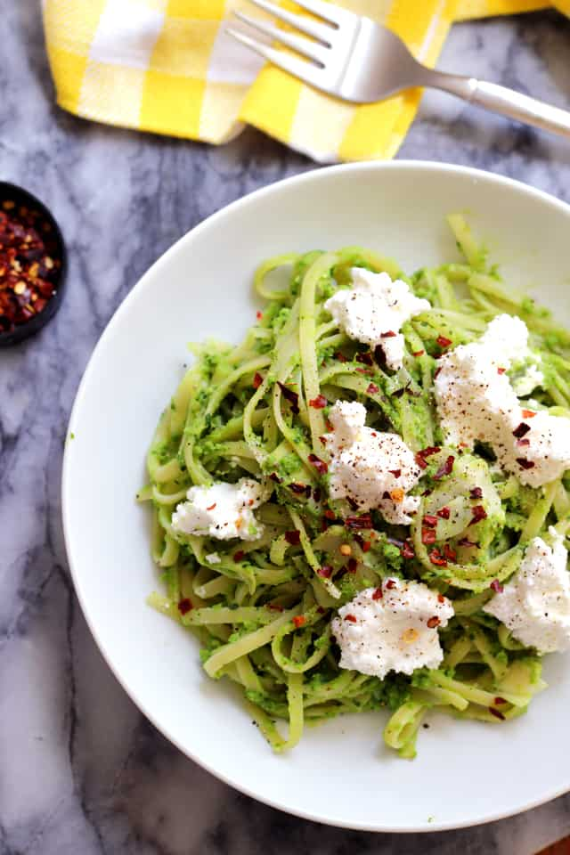 Linguine with Lemony Pea Pesto, Artichokes, and Ricotta from Eats Well With Others