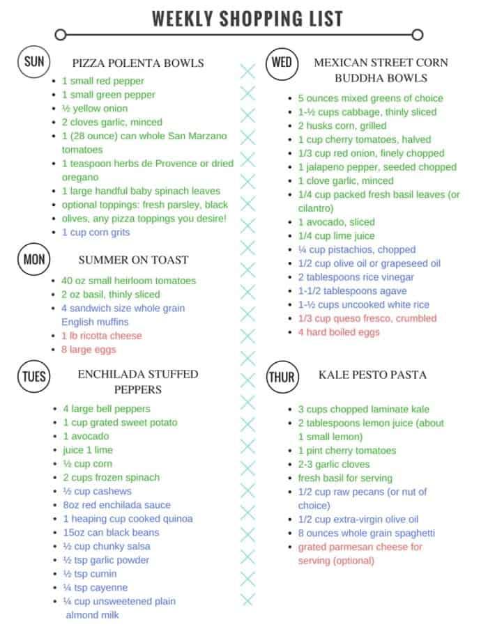Meal Plan Shopping list 8