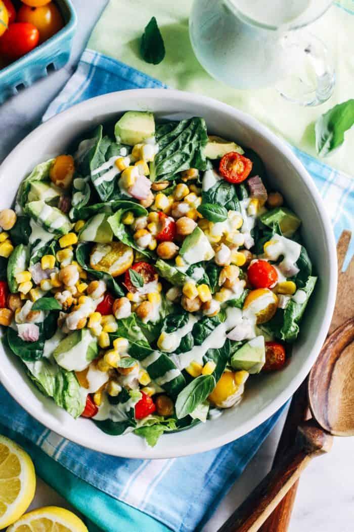 Roasted Corn Tomato Summer Salad with Lemon Basil Yogurt Dressing from Making Thyme for Health