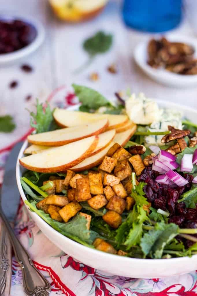 Blue Cheese, Apple & Tofu Salad from She Likes Food