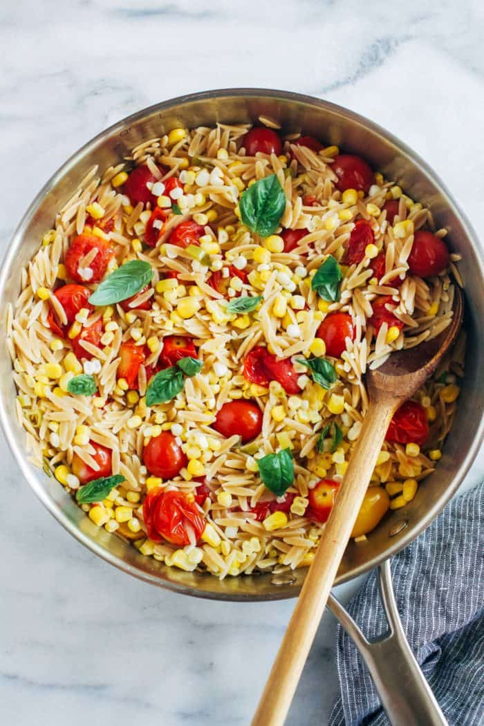 Tomato Corn Orzo with White Wine Butter Sauce from Making Thyme for Health