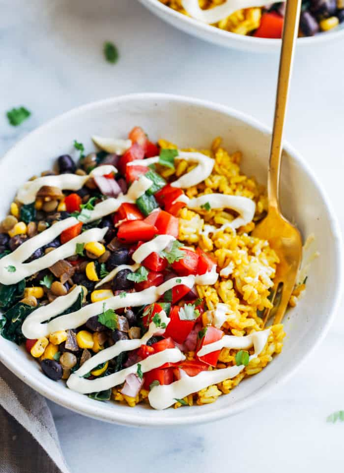 Turmeric Rice Burrito Bowls from Making Thyme for Health
