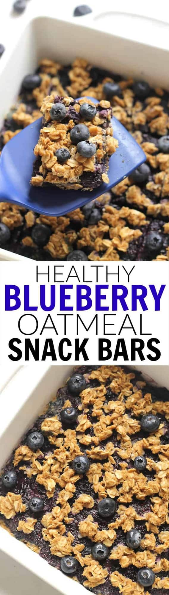 Healthy Blueberry Oatmeal Snack Bars made with no flour and only 155 calories per bar. A great kid-friendly dessert or whole grain snack!