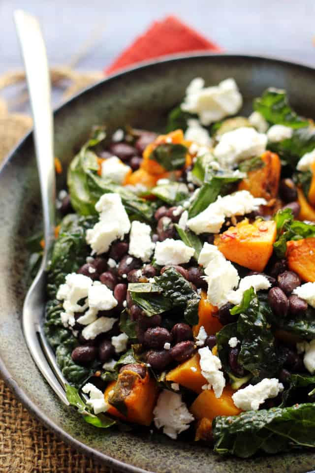 Butternut Squash and Smoky Black Bean Kale Salad from Eats Well With Others