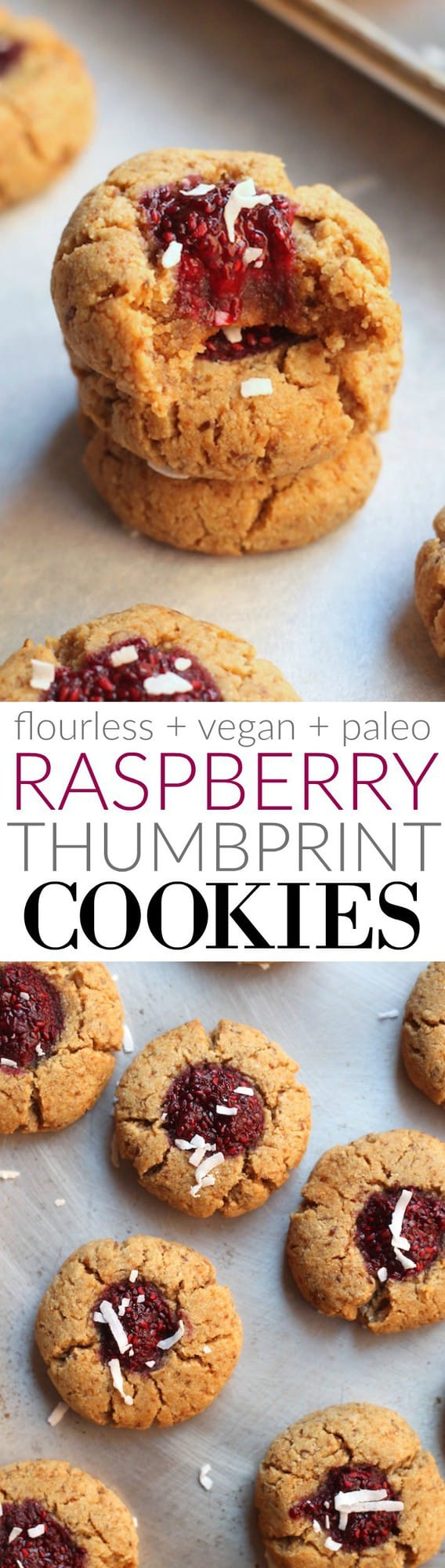 The Flourless Vegan + Paleo Raspberry Thumbprint Cookies are soft are a soft, perfectly sweet snack or treat! Super quick to whip up.