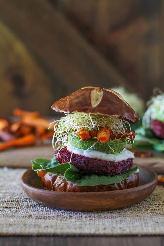 Beet Veggie Burgers with Herbed Goat Cheese from The Roasted Root