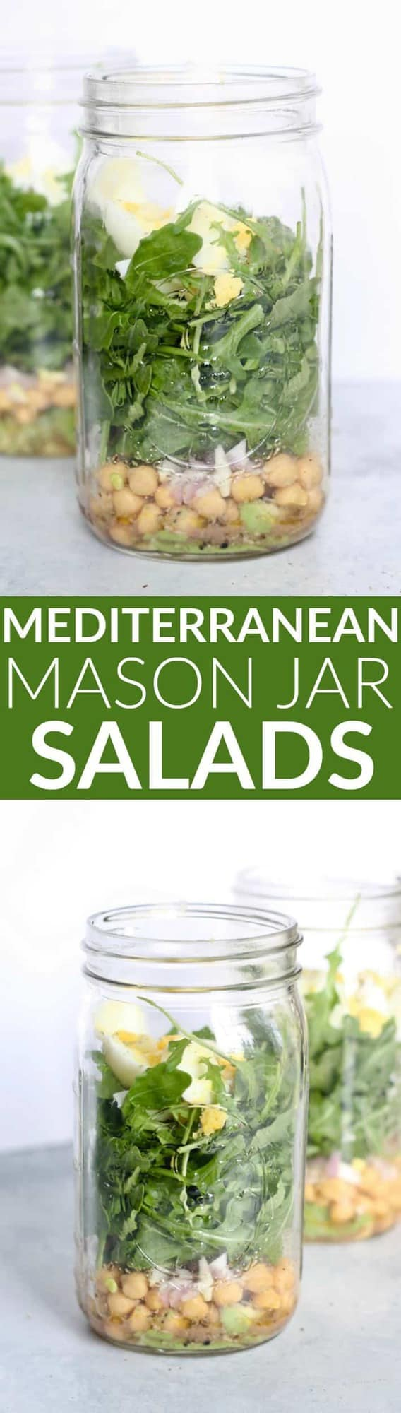 This refreshing, nutritious Mediterranean Salad in a Jar is the perfect protein-packed EASY lunch on the go!