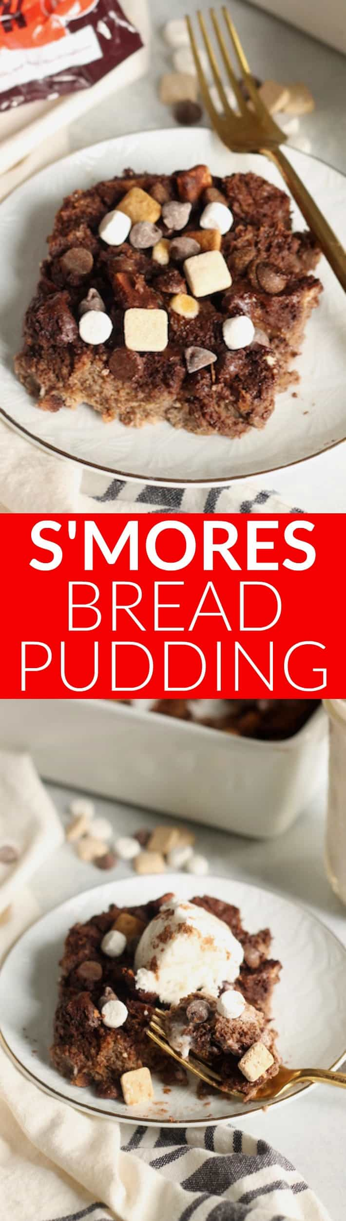 This decadent S'mores Bread Pudding uses whole grain bread, almond milk, and pure maple syrup for a unique spin on the classic. Studded with chunks of s'mores pieces, this 8-ingredient treat will quickly become a favorite!