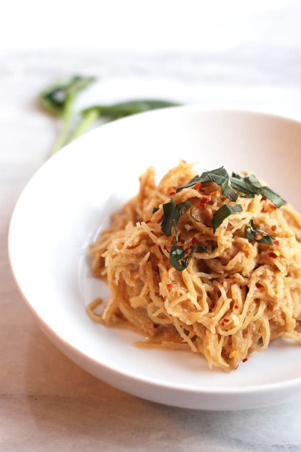 Spaghetti Squash with Vegan Tomato Basil Cream Sauce from Hummusapien