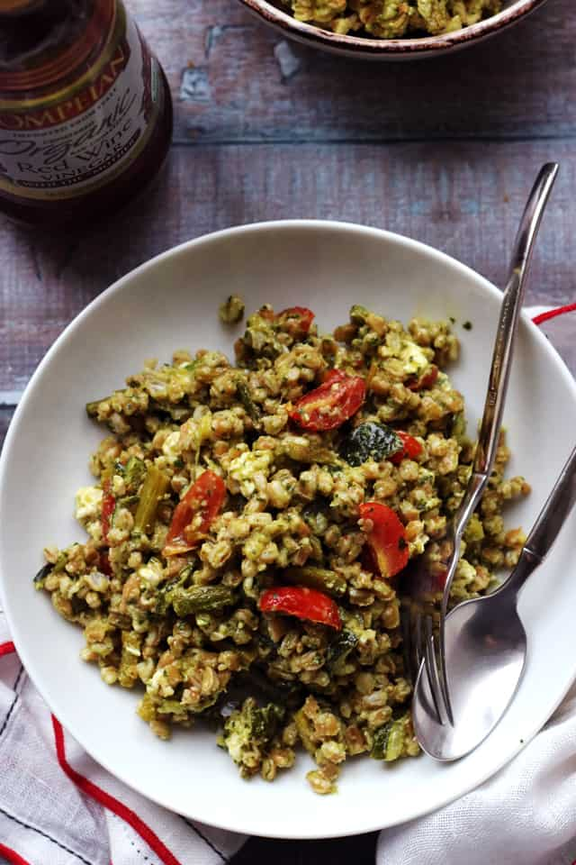 Roasted Spring Vegetable Farro Bowls with Thai Green Curry Pesto from Eats Well With Others