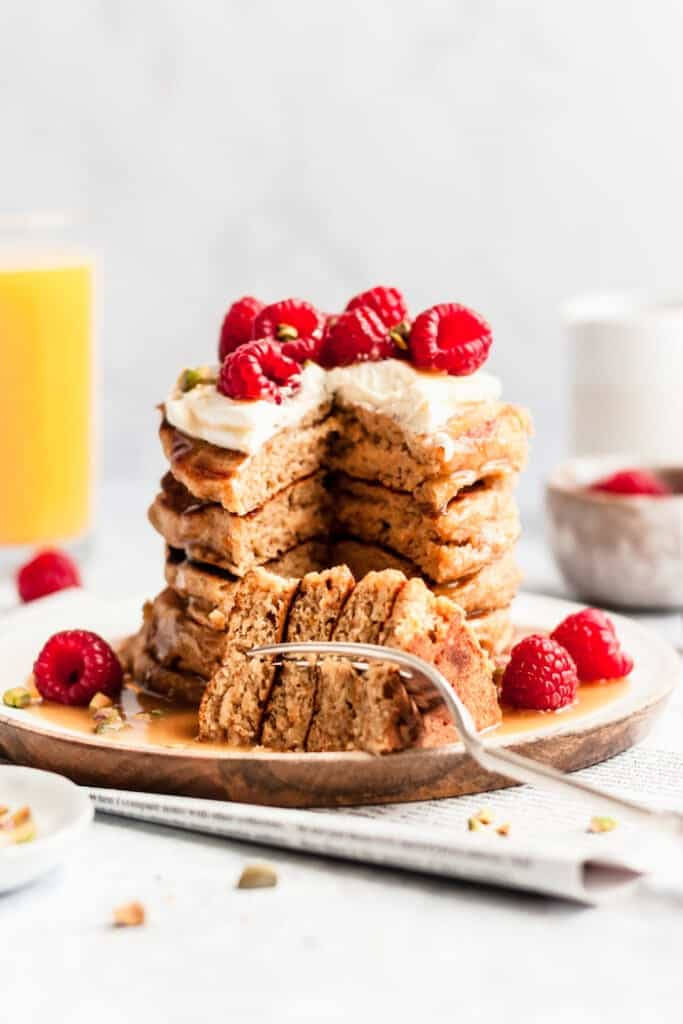whole wheat orange pancakes stack with fork