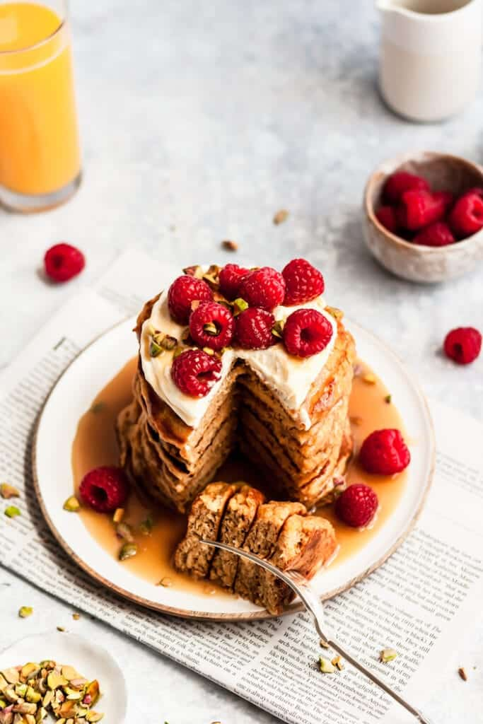whole wheat orange pancakes stack with maple tahini syrup