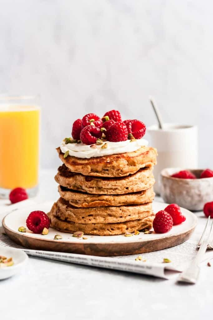 orange whole wheat pancakes stack