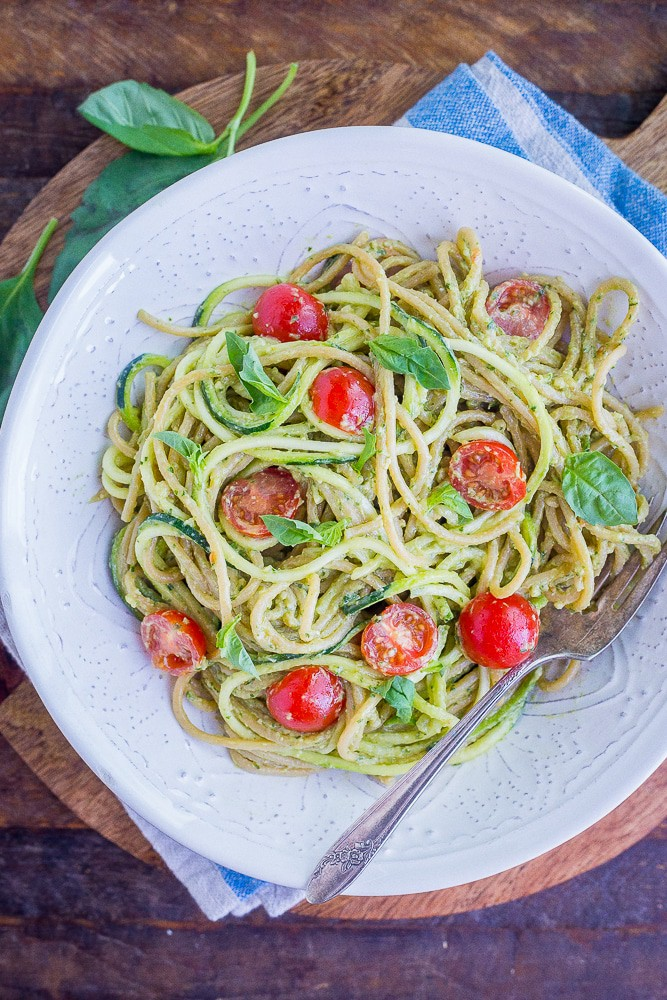 Avocado Pesto Zucchini Noodles from She Likes Food