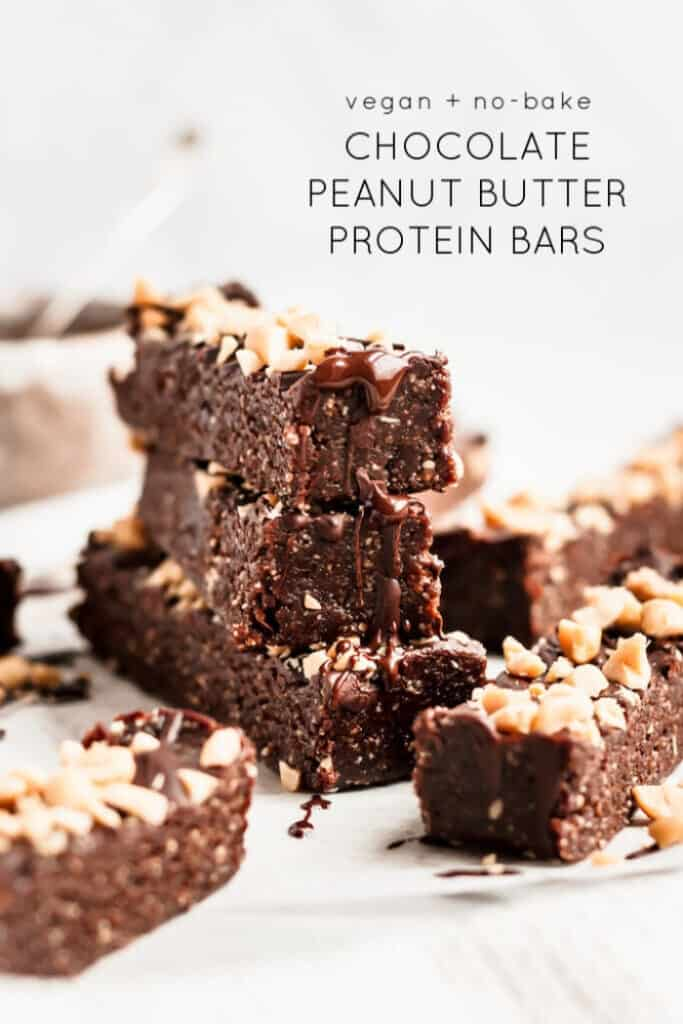 Easy no-bake Chocolate Peanut Butter Protein Bars make the perfect healthy snack or treat that you can keep in the fridge and enjoy all week! Vegan and gluten-free.
