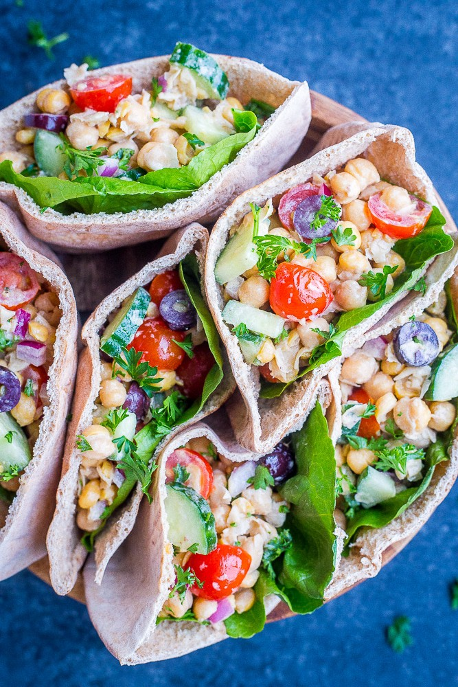 Greek Chickpea Salad Pitas from She Likes Food