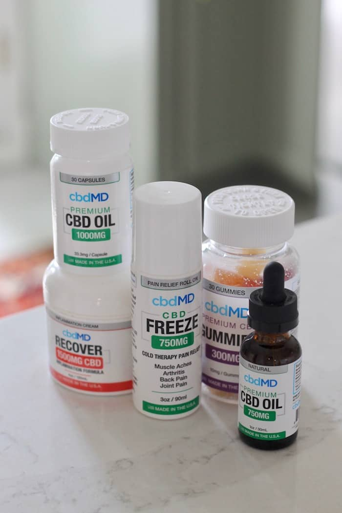 CBD products on counter