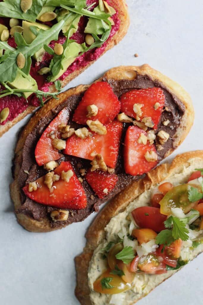 Hummus Toast with customizable toppings makes a simple and tasty breakfast, lunch, or healthy snack!