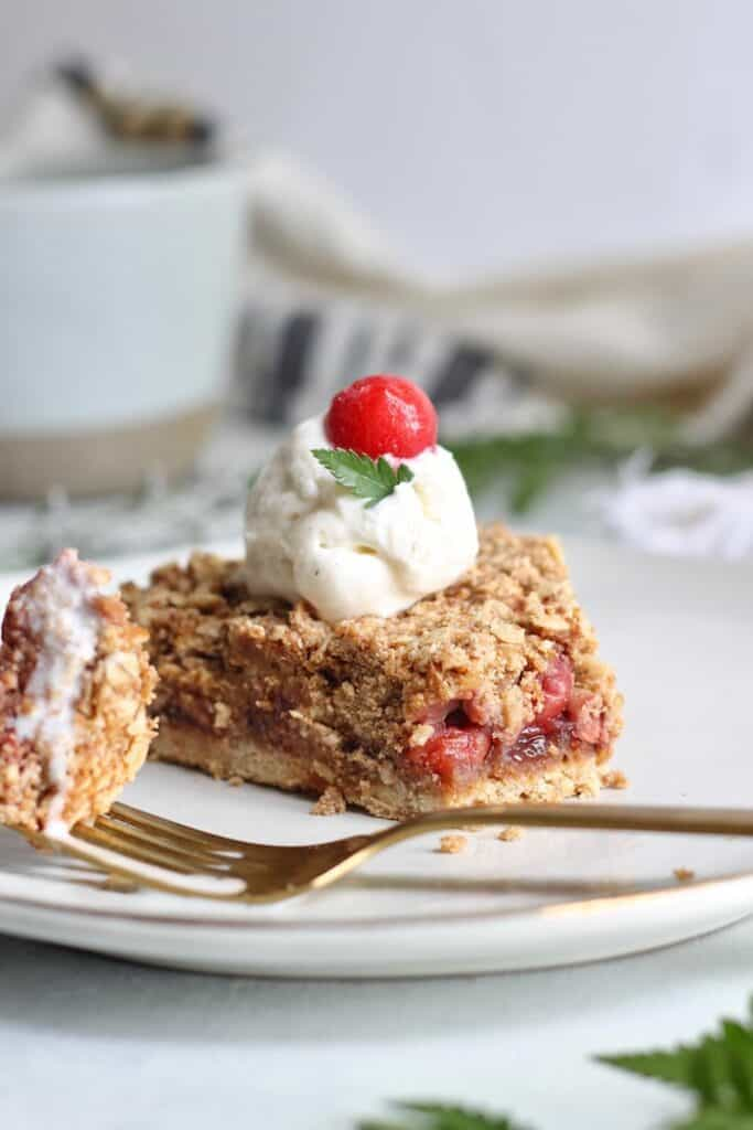 tart cherry pie with fork
