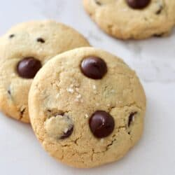 Almond flour chocolate chip cookies on counter