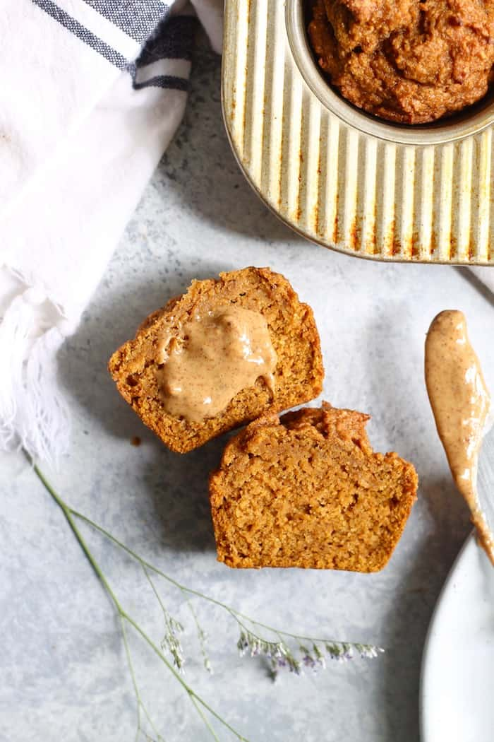 pumpkin muffin split with almond butter