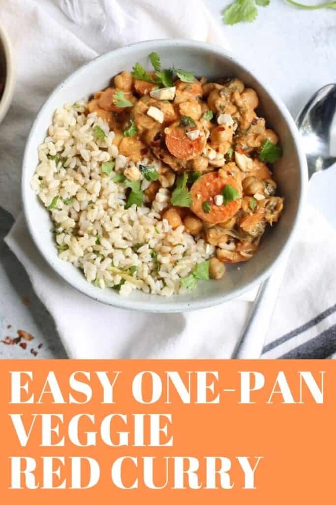 This Quick and Easy One Pan Veggie Curry is comfort in a bowl! Plant powered and full of flavor for weeknight dinners. Vegan and gluten-free!